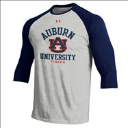Auburn Tigers Under Armour Charged Cotton Baseball 3/4 Sleeve T-Shirt