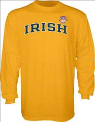 Notre Dame Fighting Irish 2013 BCS National Championship Game Irish Arch Long Sleeve T-Shirt - Gold