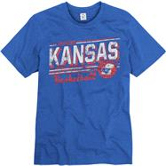 Kansas Jayhawks Royal Escalate Basketball Ring Spun T-Shirt