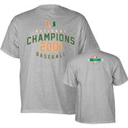 Miami Hurricanes Grey 2001 Baseball National Champions Commemorative T-Shirt