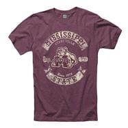Mississippi State Bulldogs Heathered Wine Rockers Ring Spun T-Shirt