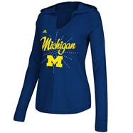 Michigan Wolverines Women's Heather Navy adidas Crystal Burst Hooded Long Sleeve T-Shirt