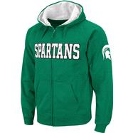 Michigan State Spartans Dark Green Twill Tailgate Full-Zip Hooded Sweatshirt