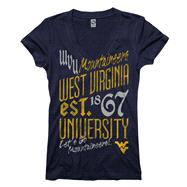 West Virginia Mountaineers Women's Navy Landslide Ring Spun V-Neck T-Shirt