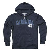 North Carolina Tar Heels Women's Heather Grey Cheer Ring Spun Full-Zip Hooded Sweatshirt