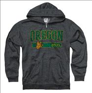 Oregon Ducks Heather Grey Bridge Ring Spun Full-Zip Hooded Sweatshirt