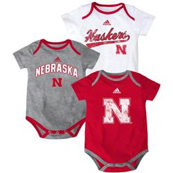 Nebraska Cornhuskers adidas Newborn Creeper 3-Pack Set