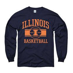 Illinois Fighting Illini Youth Navy Wide Stripe Basketball Long Sleeve T-Shirt