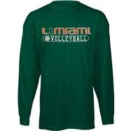 Miami Hurricanes Green Volleyball Long Sleeve T-Shirt