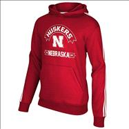 Nebraska Cornhuskers adidas Red Youth 3 Stripe Hooded Sweatshirt