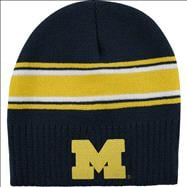 Michigan Wolverines adidas Navy Youth Vinage Uncuffed Ribbed Knit Hat