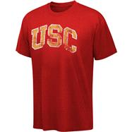 USC Trojans Cardinal Block Distressed Arch Washed Vintage T-Shirt