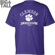 Clemson Tigers Purple Distressed Logo Big & Tall T-Shirt