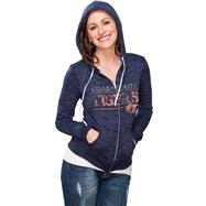 Auburn Tigers Women's Navy Burnout Full Zip Hooded Sweatshirt