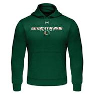 Miami Hurricanes Forest Green Under Armour Performance Fleece Hooded Sweatshirt