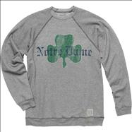 Notre Dame Fighting Irish Shamrock Grey Original Retro Brand Super Soft Crewneck Sweatshirt