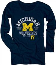 Michigan Wolverines Women's Medusa Scoopneck Long Sleeve T-Shirt