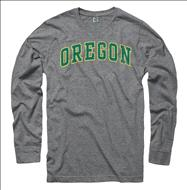 Oregon Ducks Vertical Arch Ring Spun Long Sleeve T-Shirt