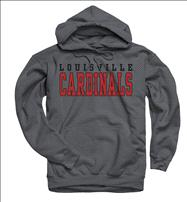 Louisville Cardinals Charcoal Straight Line Hooded Sweatshirt