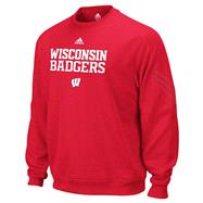 Wisconsin Badgers Red adidas Practice Stitch ClimaWarm Crewneck Sweatshirt