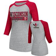 Wisconsin Badgers Women's Heather Red adidas Originals Traditional Me Tri-Blend Raglan 3/4 Raglan Long Sleeve T-Shirt