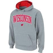 Wisconsin Badgers Grey Twill Arch Hooded Sweatshirt