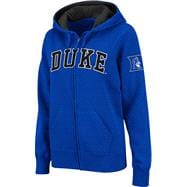 Duke Blue Devils Women's Royal Twill Tailgate Full-Zip Hooded Sweatshirt