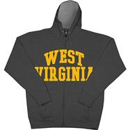 West Virginia Mountaineers Charcoal Twill Arch Full-Zip Hooded Sweatshirt