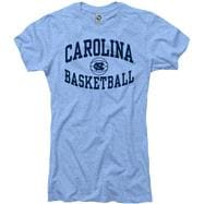 North Carolina Tar Heels Women's Heather Light Blue Reversal Basketball Ring Spun T-Shirt