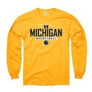 Michigan Wolverines Gold Property of Basketball Long Sleeve T-Shirt