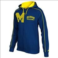 Michigan Wolverines Navy adidas Piping Full-Zip Hooded Sweatshirt