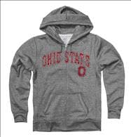 Ohio State Buckeyes Women's Heather Grey Cheer Ring Spun Full-Zip Hooded Sweatshirt