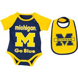 Michigan Wolverines Infant Rocker Creeper and Bib Set