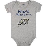 Navy Midshipmen Infant Grey Little One Creeper