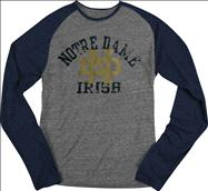 Notre Dame Fighting Irish adidas Youth Grey Valedictorian Tri-Blend Raglan Long Sleeve T-Shirt