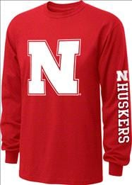 Nebraska Cornhuskers  Red Youth Double Hit II Long Sleeve T-Shirt