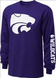 Kansas State Wildcats Old Varsity Brand Purple Youth Double Hit II Long Sleeve T-Shirt