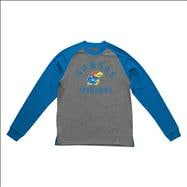 Kansas Jayhawks Old Varsity Brand Royal Youth Triple Header Raglan Long Sleeve T-Shirt