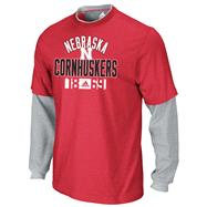 Nebraska Cornhuskers adidas Red Splitter Long Sleeve 2-Fer Thermal Top