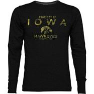 Iowa Hawkeyes Black Classic Slub Long Sleeve Crew