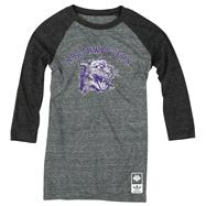 Northwestern Wildcats adidas Originals Women's Vintage Mascot 3/4 Sleeve Tri-Blend T-Shirt