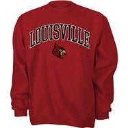 Louisville Cardinals Red Tackle Twill Crewneck Sweatshirt