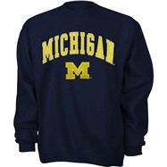 Michigan Wolverines Youth Navy Tackle Twill Crewneck Sweatshirt