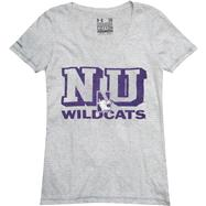 Northwestern Wildcats Women's Under Armour Charged Cotton V-Neck T-Shirt