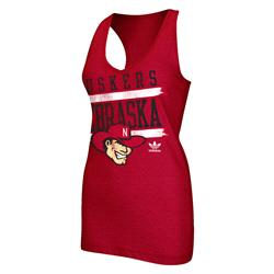 Nebraska Cornhuskers adidas Originals Women's Tilted Racer Back Tank Top