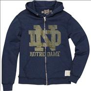 Notre Dame Fighting Irish Original Retro Brand Navy ND Vintage Thermal-Lined Hooded Sweatshirt