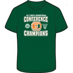 Miami Hurricanes 2013 ACC Basketball Conference Tournament Champions Block T-Shirt