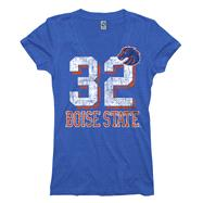 Boise State Broncos Women's Royal Big Numbers Deep V-Neck T-Shirt