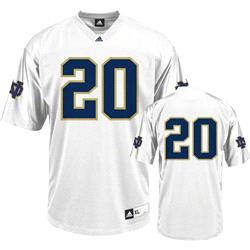 Notre Dame Fighting Irish Football Jersey: adidas #20 White Replica Football Jersey