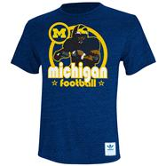 Michigan Wolverines Heather Navy adidas Originals Iron Heat Gridiron Tri-Blend T-Shirt